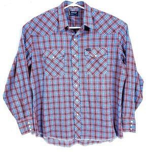 Wrangler Mens XL Blue Red Western Shirt Pearl Snap